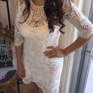 White Lace mid sleeve dress
